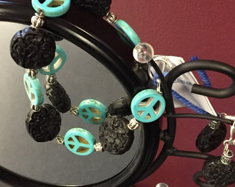 Black Floral and Turquoise Peace Sign Beaded Bracelet and Earrings Set