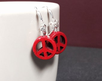 Bold Red Peace Sign Earrings