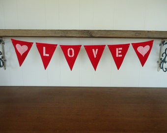 Love Felt Wedding Banner with Hearts Triangle Bunting Decoration Sign