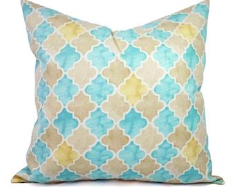 Pillows - Two Blue and Yellow Pillow Covers - Blue Quatrefoil Pillow - Aqua Trellis Pillow - Aqua Blue Pillow - Yellow Pillow - Cream Pillow