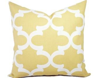 Two Yellow Quatrefoil Decorative Pillow Covers Saffron Yellow and White - Moroccan Tile Pillow - Trellis Pillows - Yellow Pillows