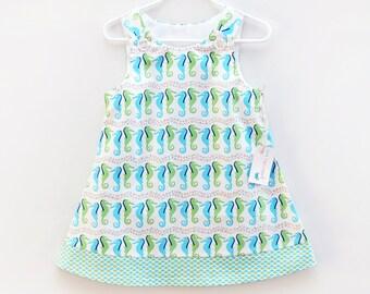 Seahorse Jumper Dress - Aqua, Turquoise, Blue - Beachy Dress - Girls Boutique Dress - Preppy Dress - Seahorse Print - Toddler Girls Jumper