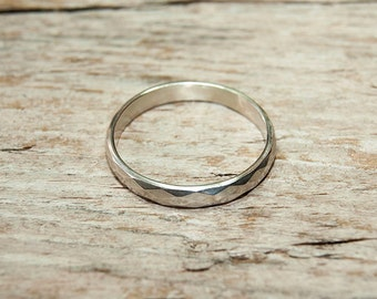 Sterling silver faceted silver ring, plain band, simple, christmas gift, stacking ring size I