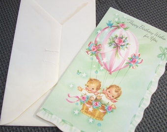 Vintage 1940's Children's Birthday Card with Envelope - Not Used!