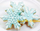 Snowflake Hand Decorated Sugar Cookie - 1 dozen