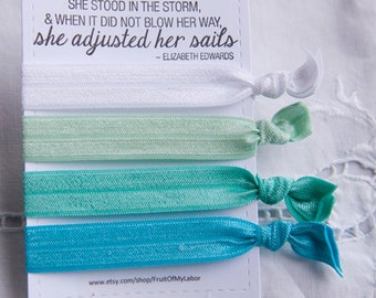 Set of Four Elastic Hair Ties - Aqua2