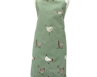 Multi Chicken & Spot Sage Apron - Spotty Hen Apron, 100% Cotton, Barnyard, Country Kitchen