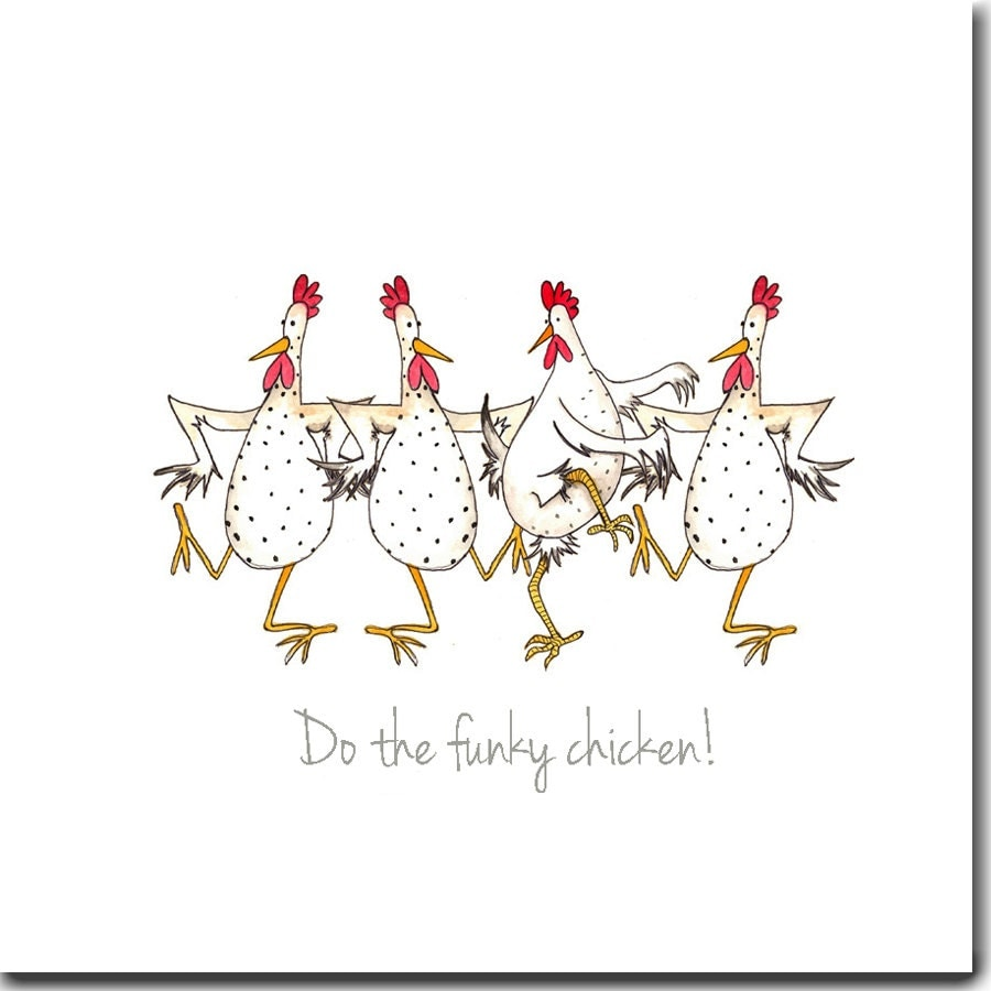 Do The Funky Chicken Greeting Card Funny Chicken Card Blank