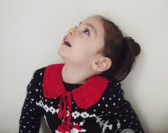 detachable hand crochet peter pan collar necklace neckwarmer christmas gift for her for kids red