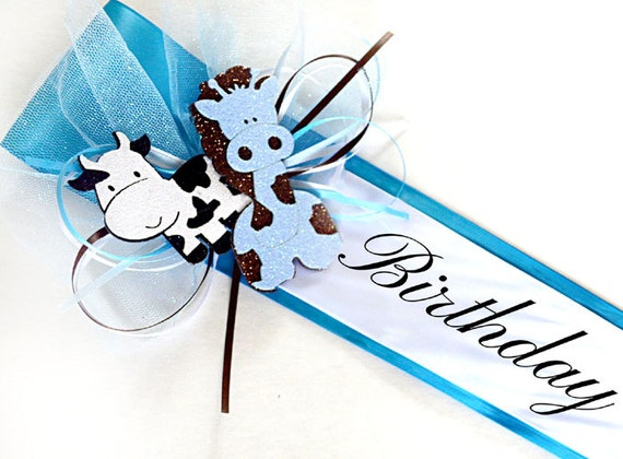 Birthday Boy Sash - Blue Baby Sash, First Birthday, Birthday Party Sash, Animal Birthday