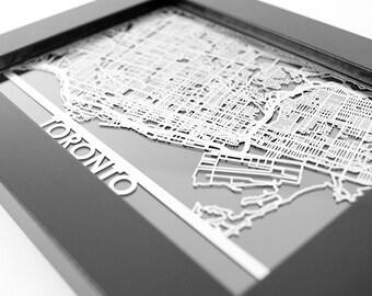 "Toronto Canada Stainless Steel Laser Cut Map - 5x7"" Framed | Wall Art"
