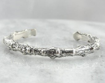 Organic Textured Twig Or Botanical Style Cuff Bracelet In Sterling 0W1C66-N