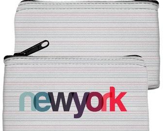 New York Zipper Pouch | Dot Stripe Coin Purse | Wedding Favor