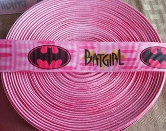 1' Bat girl pink ribbon- hair bow ribbon- crafting supplies-