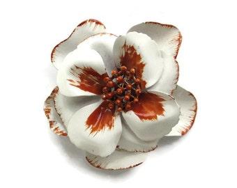 Large Vintage Brown and White Enamel Flower Power Hippie Era Metal Pin