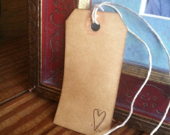 Primitive heart gift tags- set of 12, hand stamped