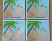 Golden Retriever Dog Coasters - Set of 4 - It's 5 O'clock Somewhere - Handmade Tile Coasters