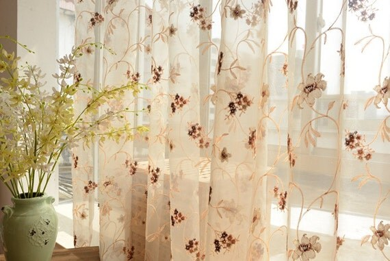 Custom Made Floral Embroidered Sheer Curtain Panel French Country ...