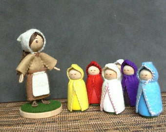 Mother Nature bendy doll and Flower Children peg dolls Mother Earth Root Children