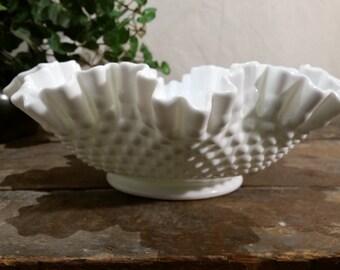 Bowl Fenton Hobnail Ruffles Milk Glass Wedding Centerpiece 12 Inches