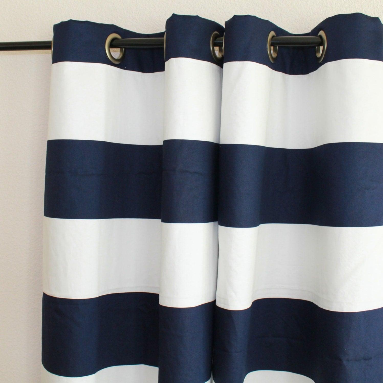Pair 50 Wide Premier Print Horizontal Cabana Stripe Navy