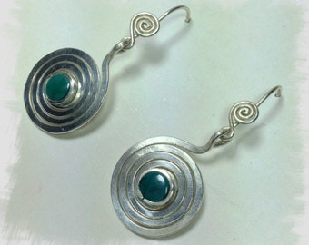silver  spiral earrings  spiral of live