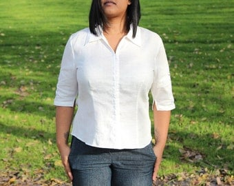 White Linen Plus Size Cutout Blouse