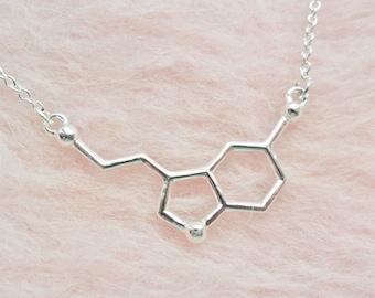 Seratonin Happiness Happy Molecule Biochemistry Chemistry Neurotransmitter Love Pendant Silver Necklace Jewellery Jewelry