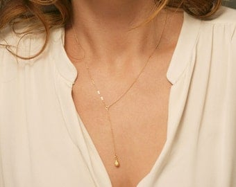 Y Necklace Gold, Simple Delicate Y Drop Necklace Lariat / Choose Pendant, 14K Gold Filled or Sterling Silver Chain, Layered and Long LN804