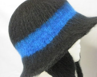 Hat Wool Felted Black with Blue Band Ear Warmers Ties and Flared Brim