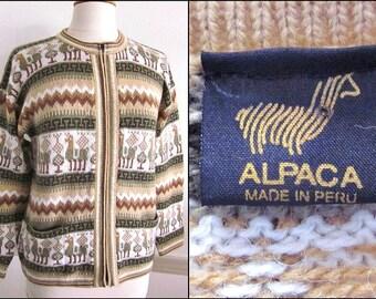 Alpaca Peru Sweater / Peruvian Alpaca Cardigan / Llama Tribal Alpaca Sweater / fits M-L
