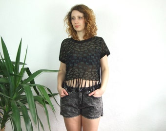 women's black transparent printed t-shirt/fringed top