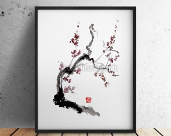Cherry Blossom Japanese Style Painting. Abstract Art Wall Home Decor fine print.