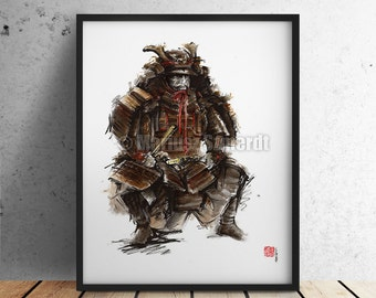 Samurai Japanese Painting Art Warrior Armor Artwork Japanese Wall Decor Fine Art Print.
