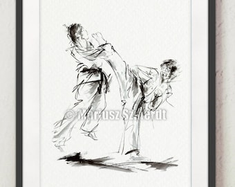 Karate Martial Arts Painting Home Decor Poster Wall Art Print.