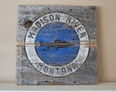 Montana Art, Fly Fishing Art, Madison River, Montana Fly Fishing, Trout, Ennis, Barnwood Sign, Salvaged Wood Art, Rustic Art, Salvage Signs