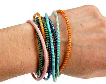 Fair Trade Bracelet set of 10 made from Recycled Flip Flops