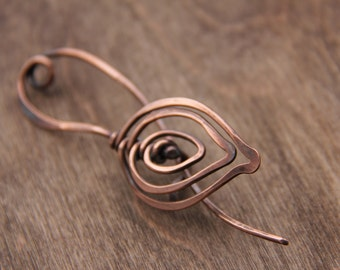 Shawl pin, Fall leaf, copper wire wrap shawl pin, scarf pin, sweater pin, brooch