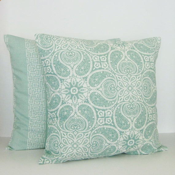 Throw Pillow Seafoam Green : Seafoam Spa Green Mint Paisley Stripe Pillow by GigglesOfDelight