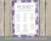 BRIDAL Shower Purse Game Printable Cards , purple hydrangeas,  INSTANT DOWNLOAD , diy digital file , print your own , whats in your purse?