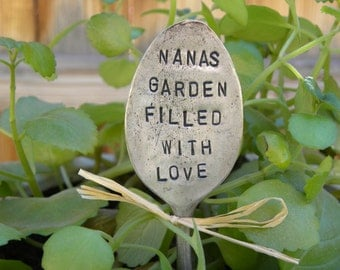 Nanas Garden Filled With Love garden pick - hand stamped spoon - plant marker - garden marker for your planter bed - re-purposed spoon art