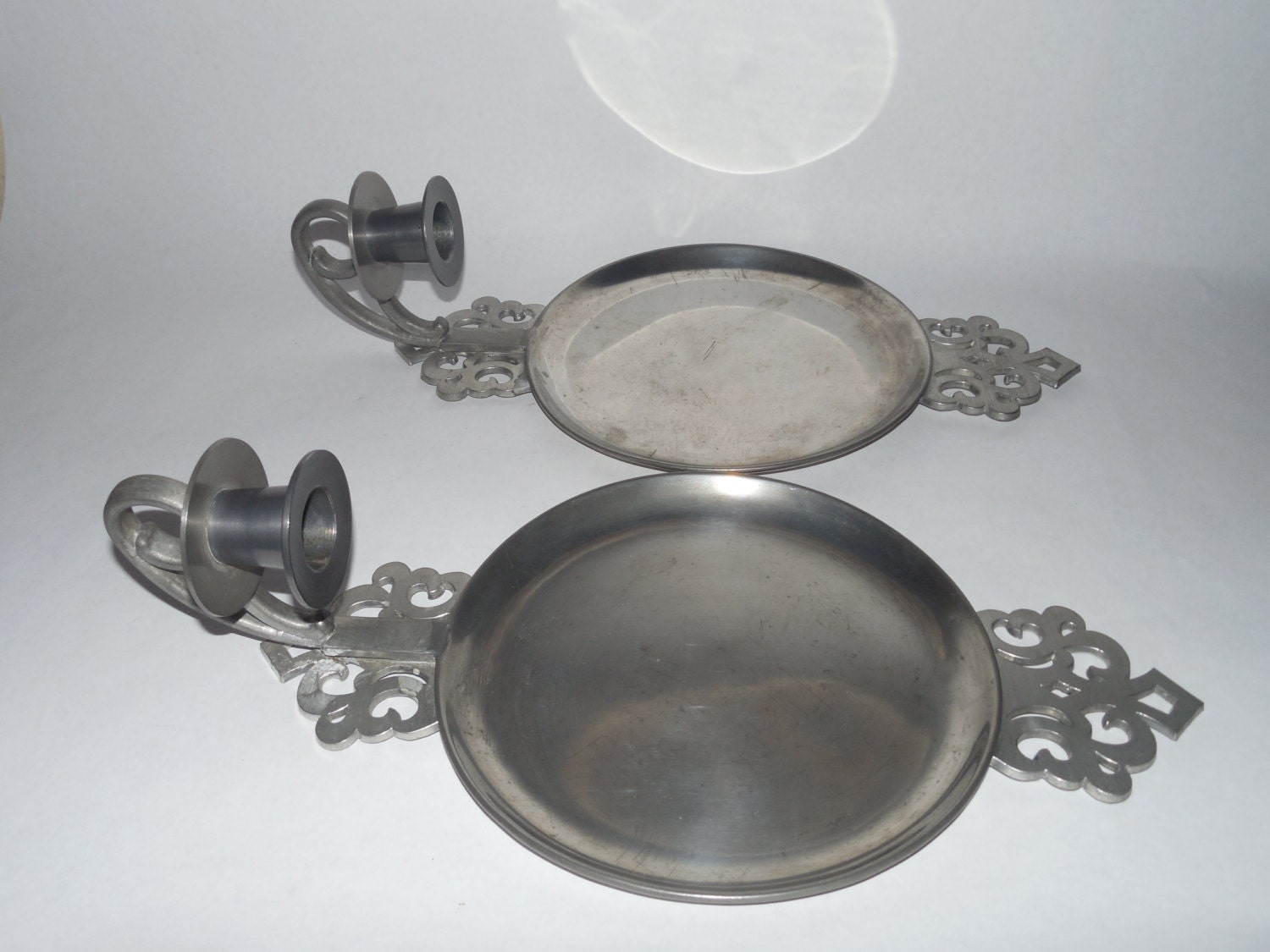 Vintage American pewter candle wall sconces Colonial style