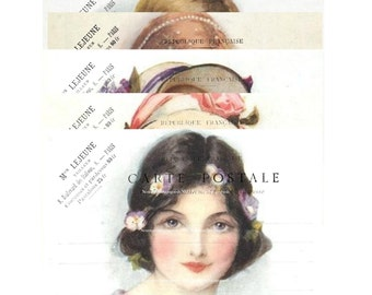Shabby Victorian Girls, French Postcard Download, Carte Postale Digital Cards