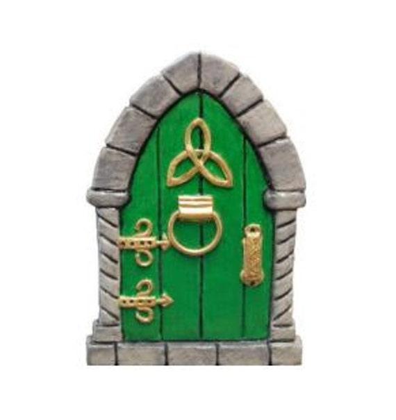 Celtic fairy door hand painted green size 3 1 2 inch high for Irish fairy door uk