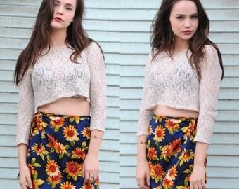 90's SUNFLOWER Print Wrap Mini Skirt