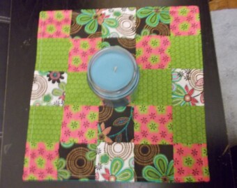 Table runner patchwork  approx 15x15 Green, pink and brown floral reversible.