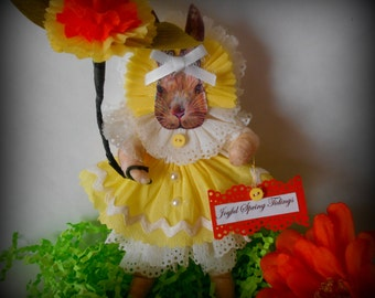 Spun Cotton Easter Bunny Ornament-  Victorian Easter Rabbit Ornament With Yellow Crepe Paper Dress- Spring/Easter Feather Tree Decoration
