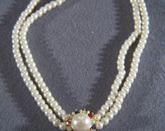 Vintage Unique Yellow gold Tone  2 Strand Multi Round Faux Pearl Multi- Colored Rhinestone Necklace       W