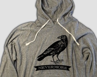 The Raven Hooded T-shirt with pockets, Nevermore, Baltimore, Edgar Allan Poe