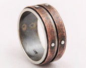 Mens weddiing band ring - silver copper ring,mens engagement ring,mens rustic ring,unique ring